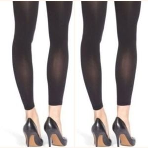 Two Spanx Footless Tights Black Opaque Size E BOGO